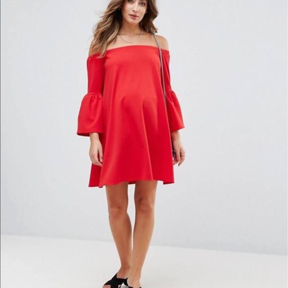5a49b99d205a4 ASOS Maternity Dresses & Skirts - ASOS Maternity Off Shoulder Dress with Bell  Sleeve